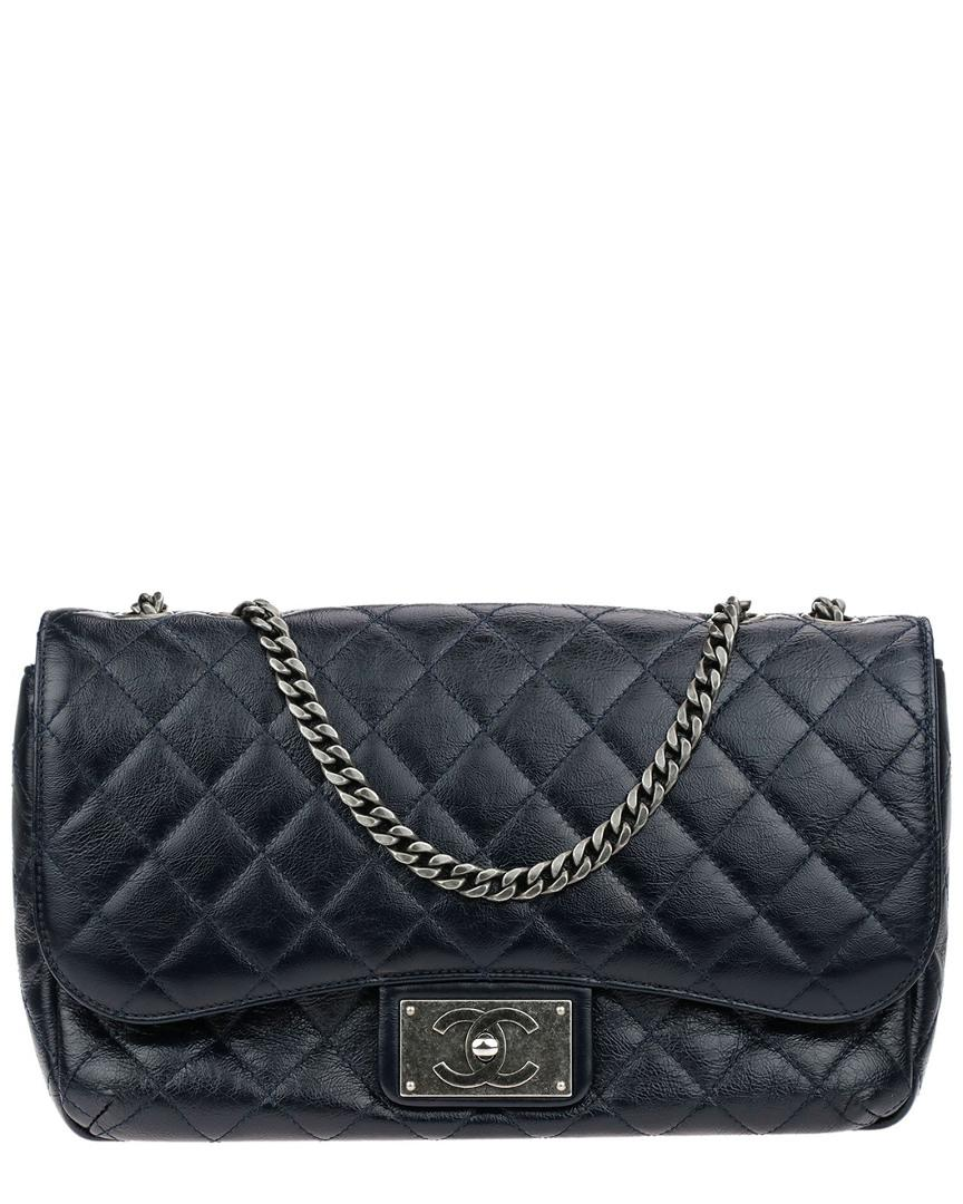 e1dfd7794bca Chanel Limited Edition Navy Blue Quilted Crinkled Patent Leather ...