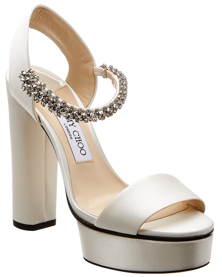 22ff631d708 Lyst - Jimmy Choo Santina 125 Satin Platform Sandal in White