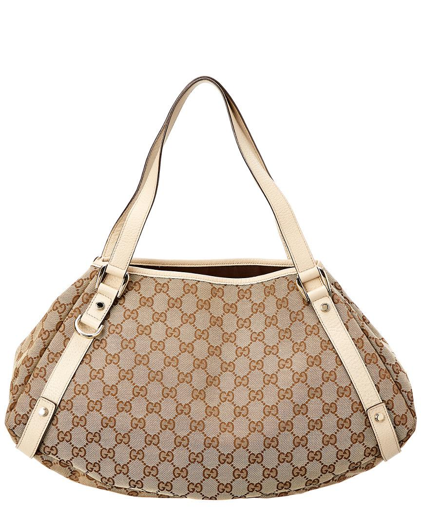 e0e5c28000 Gucci Brown GG Canvas & Cream Leather Abbey Tote in Brown - Save 7 ...