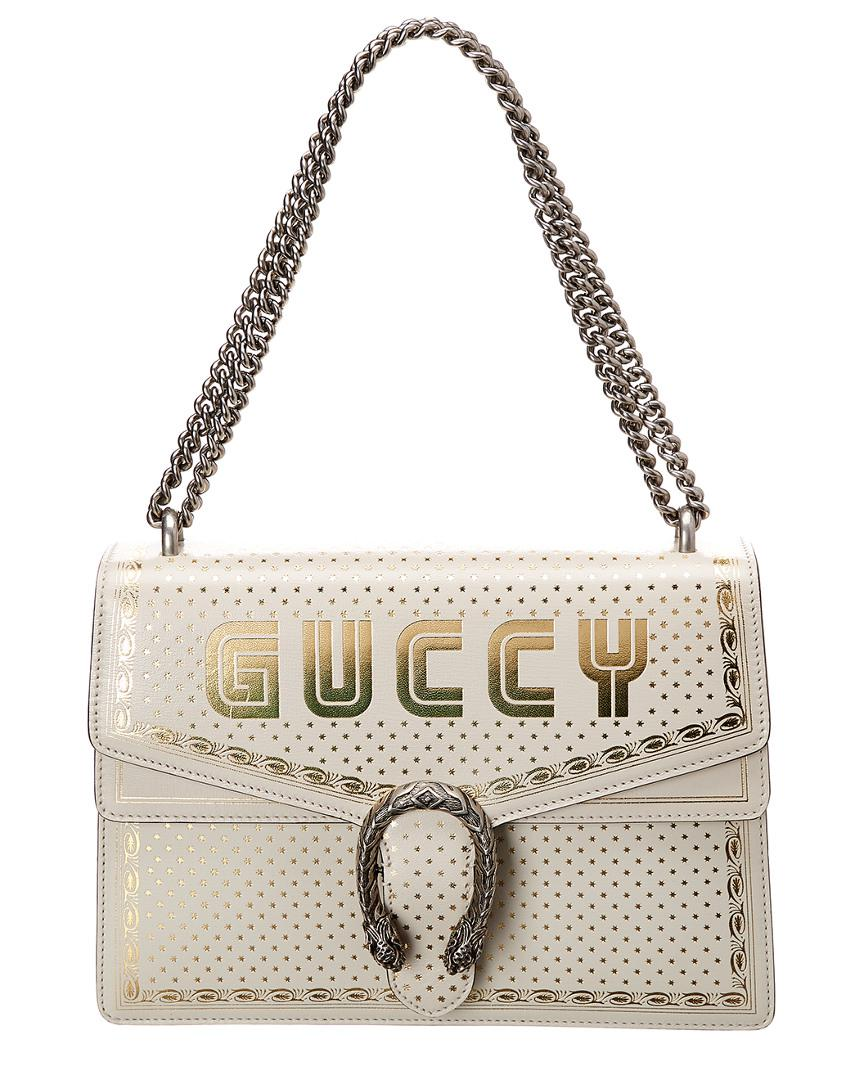 c74644558d0 Lyst - Gucci Guccy Dionysus Medium Leather Shoulder Bag in White