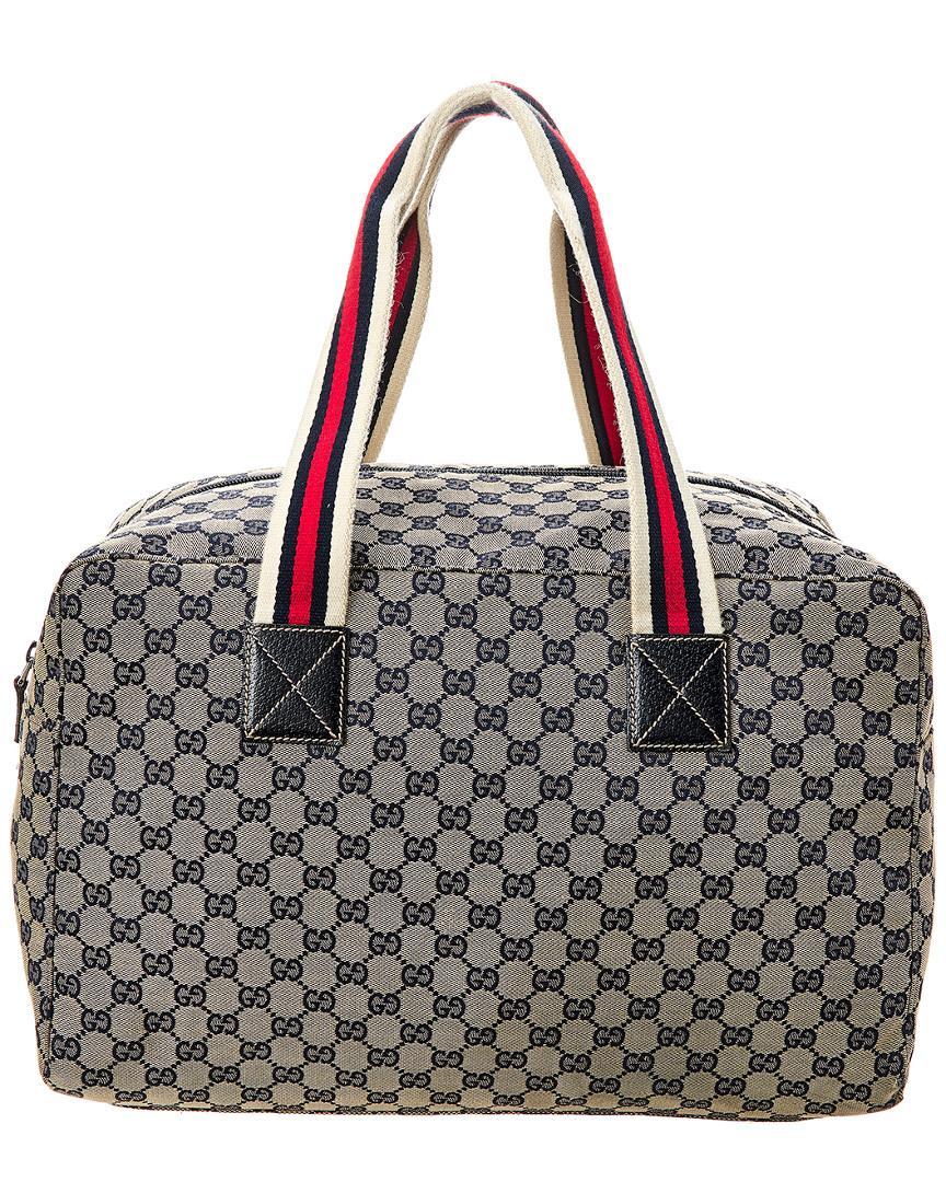 8a5da0c6981 Lyst - Gucci Navy GG Canvas   Leather Web Duffle Bag