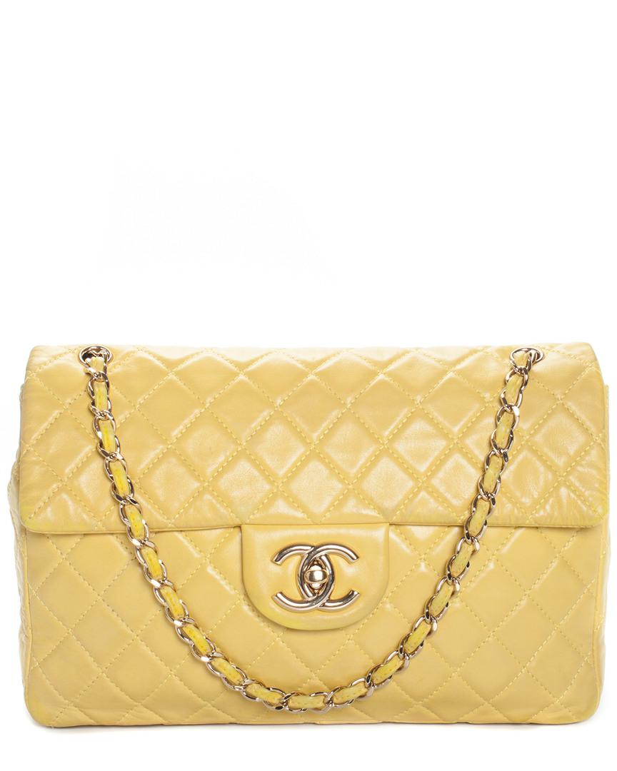 a52a940d8a10 Chanel Yellow Quilted Leather Classic Maxi Single Flap Bag in Yellow ...