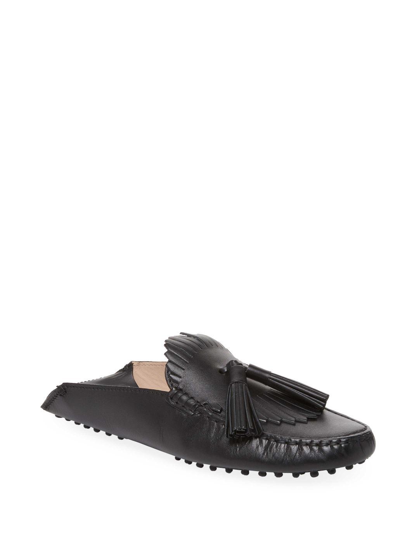 Chaussures Mule Tassle De Gommino En Suède Argent Tod N4hs1p