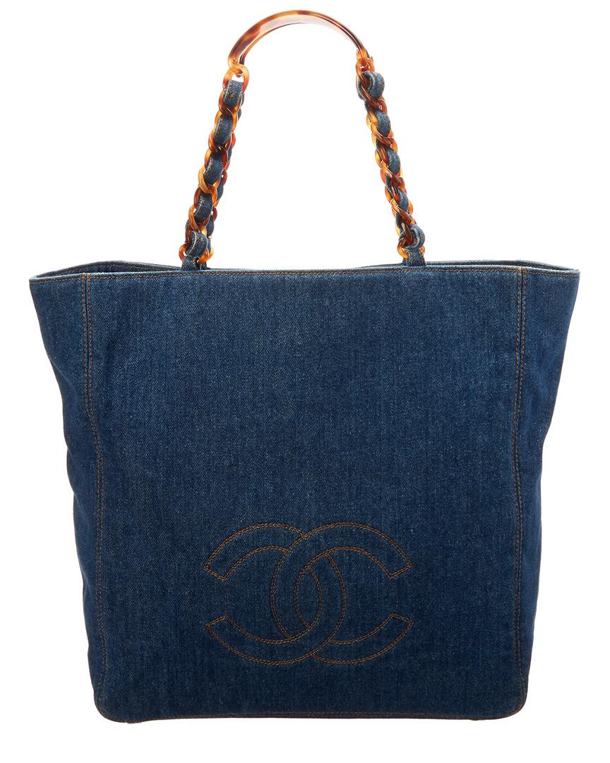 4a22a422e21a25 Lyst - Chanel Blue Denim Large Bekko Chain Cc Tote in Blue