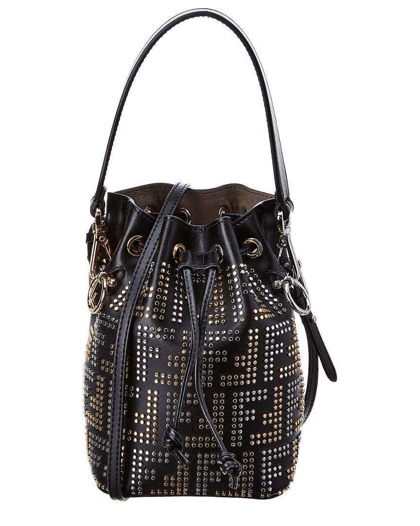 b870d344f66d Fendi Mon Tresor Mini Leather Bucket Bag in Black - Lyst