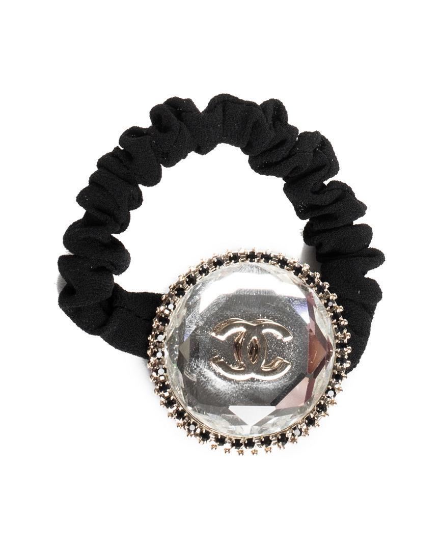 Chanel Black Crystal Logo Hair Scrunchie in Black - Lyst cf8605b5d72