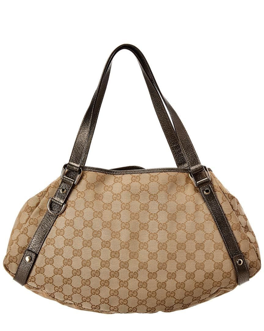 b77bb012848 Lyst - Gucci Brown Gg Supreme Coated Canvas   Leather Abbey Tote in Brown -  Save 7%
