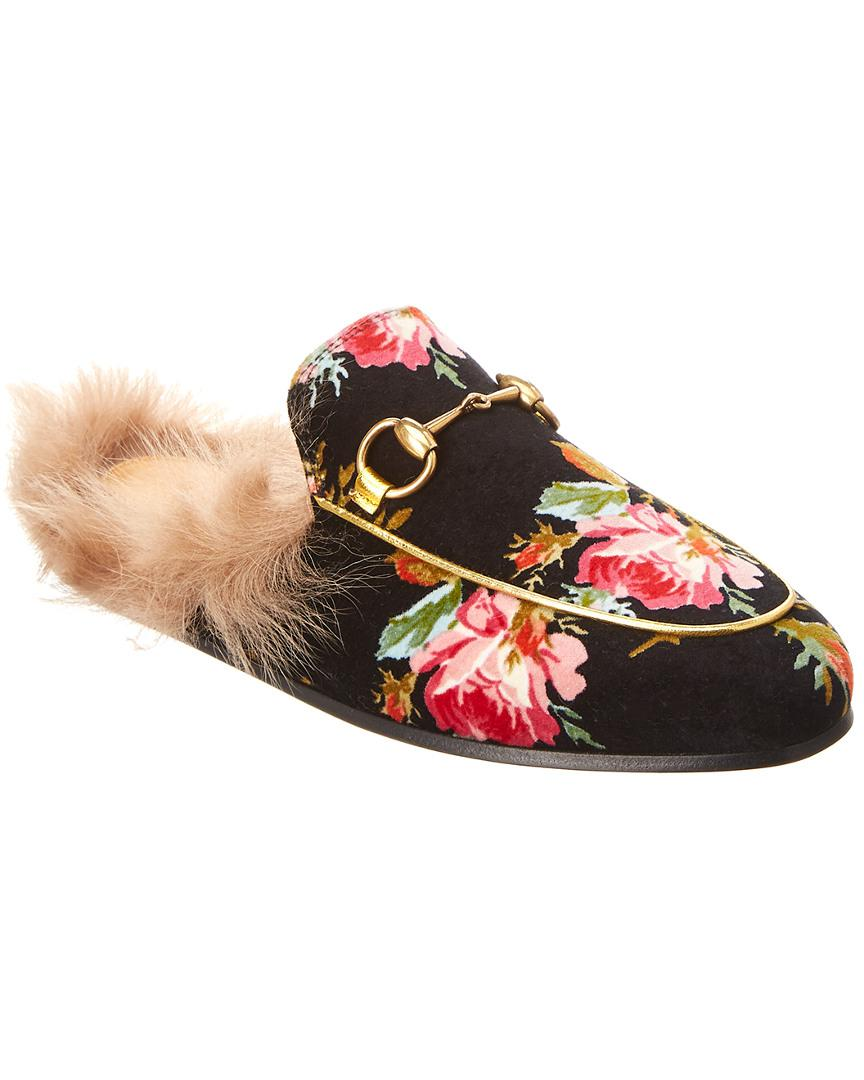 9338145f0fa6 Lyst - Gucci Princetown Velvet Slipper in Black