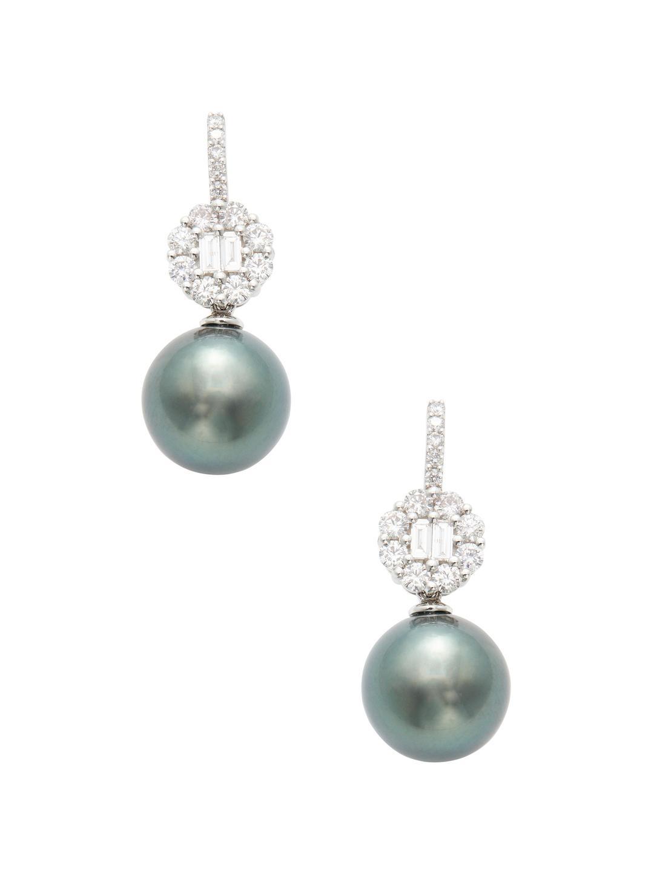 Belpearl Pavé Diamond & Tahitian Pearl Drop Earrings in 18K White Gold 2Jn7In