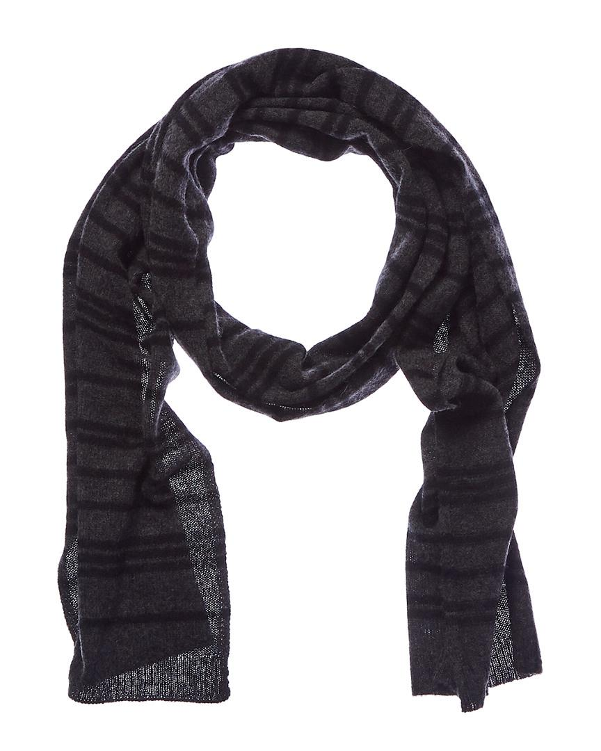 d669377dae15f Lyst - Qi Men's Charcoal & Black Striped Cashmere Scarf in Black for Men
