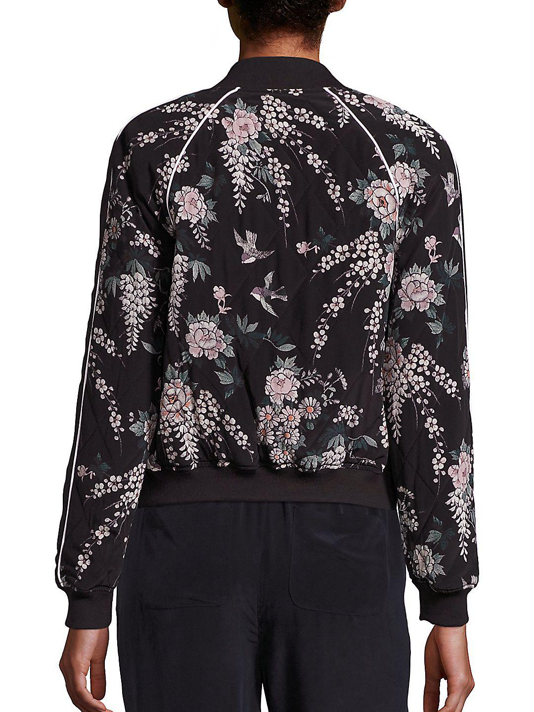 7ef34ac009d Joie Mace Floral-print Silk Bomber Jacket in Black - Lyst
