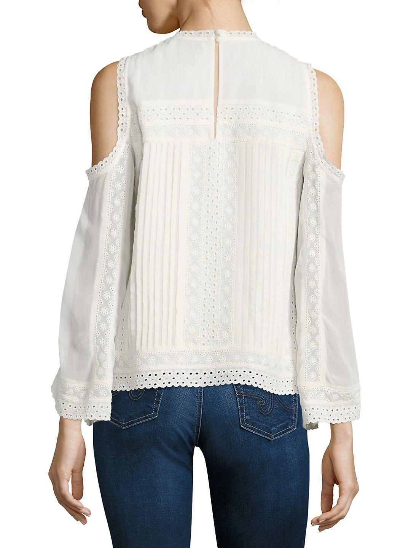 0829ba74de9c7 Alice + Olivia Ofelia Embroidered Cold-shoulder Blouse in White - Lyst
