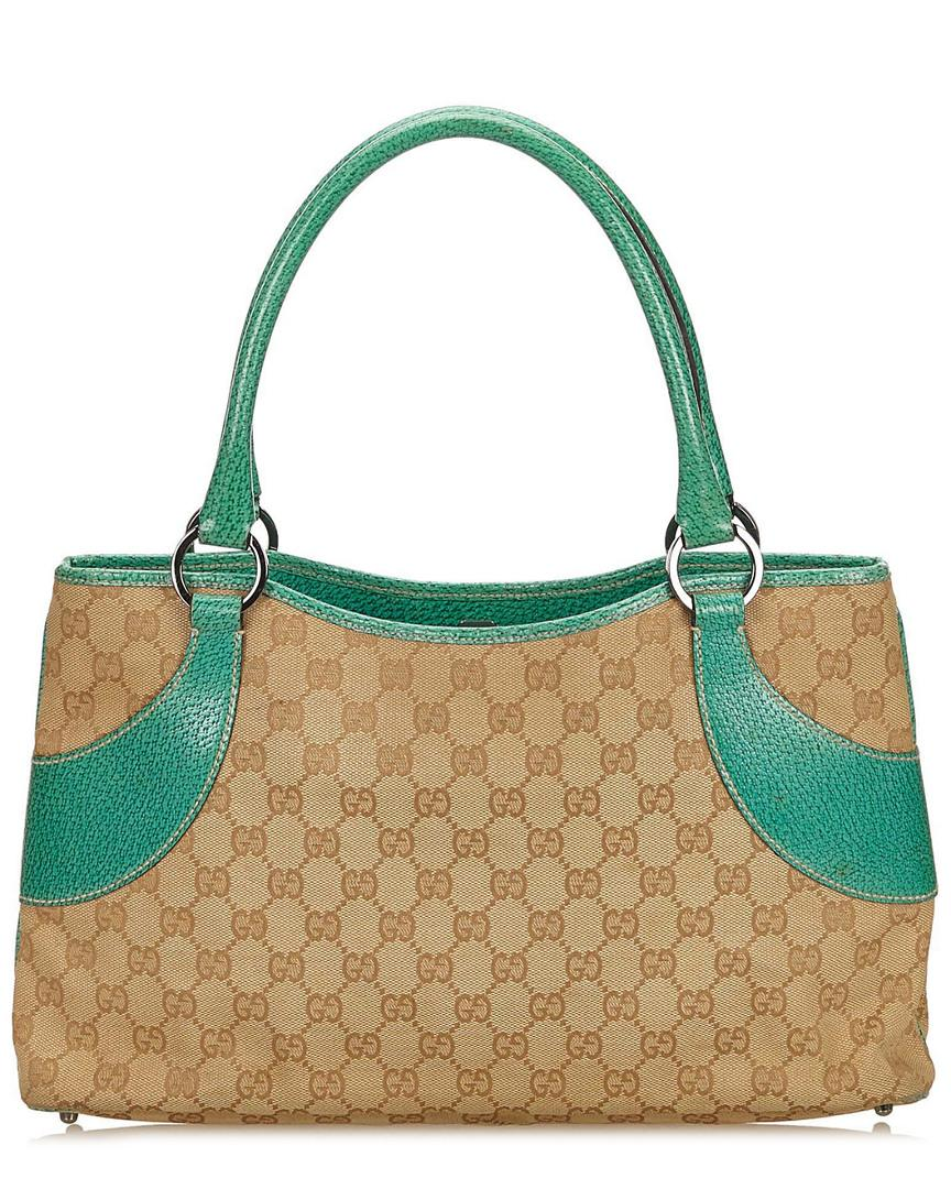 1998cd47cc6963 Gucci Gold Ssima Canvas & Blue Leather Tote in Blue - Lyst