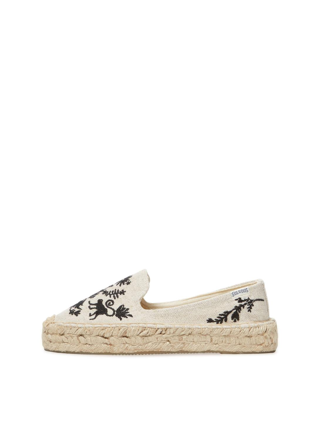 daebeee2a4f2 Lyst - Soludos Otomi Embroidered Platform Smoking Slipper in Natural
