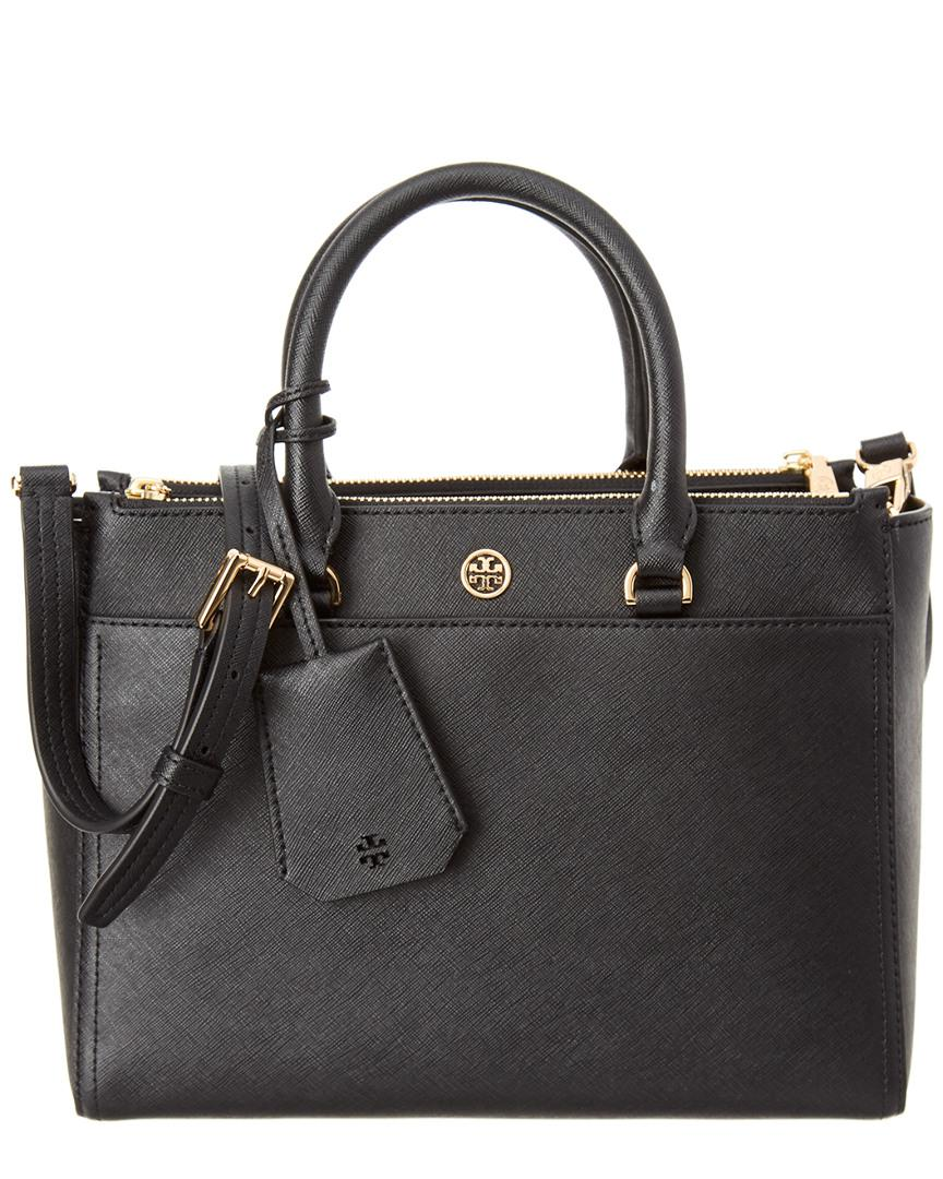aa220094df5 Lyst - Tory Burch Robinson Small Leather Double-zip Tote in Black ...