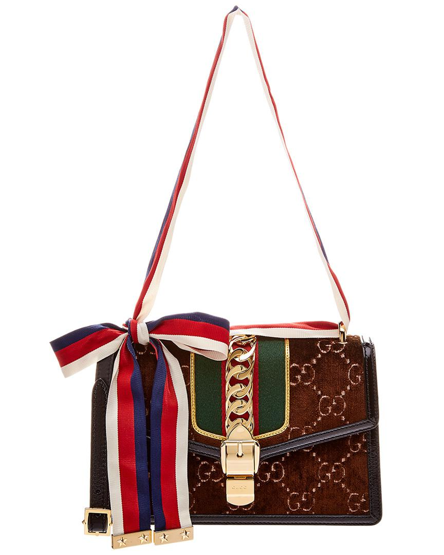 c6ccb79db Gucci Sylvie GG Small Velvet & Leather Shoulder Bag in Red - Lyst