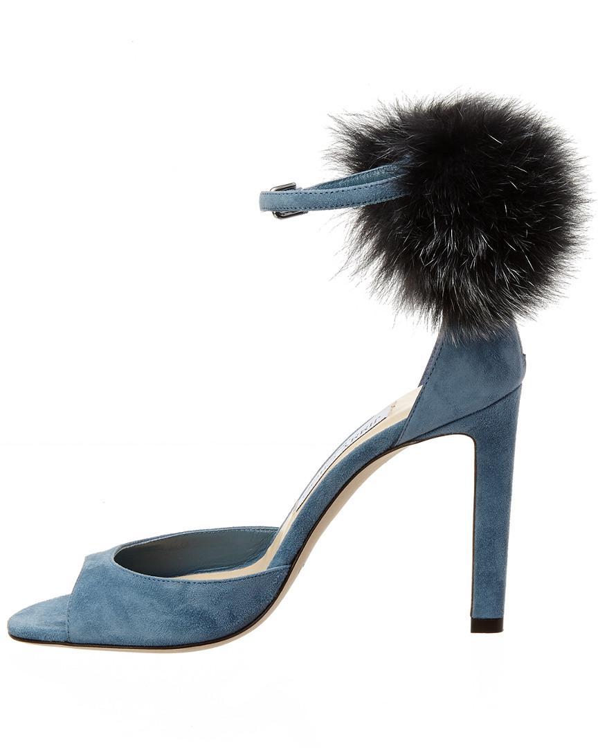 bf54142551c Lyst - Jimmy Choo Suri 100 Suede Pompom Sandal in Blue - Save 38%