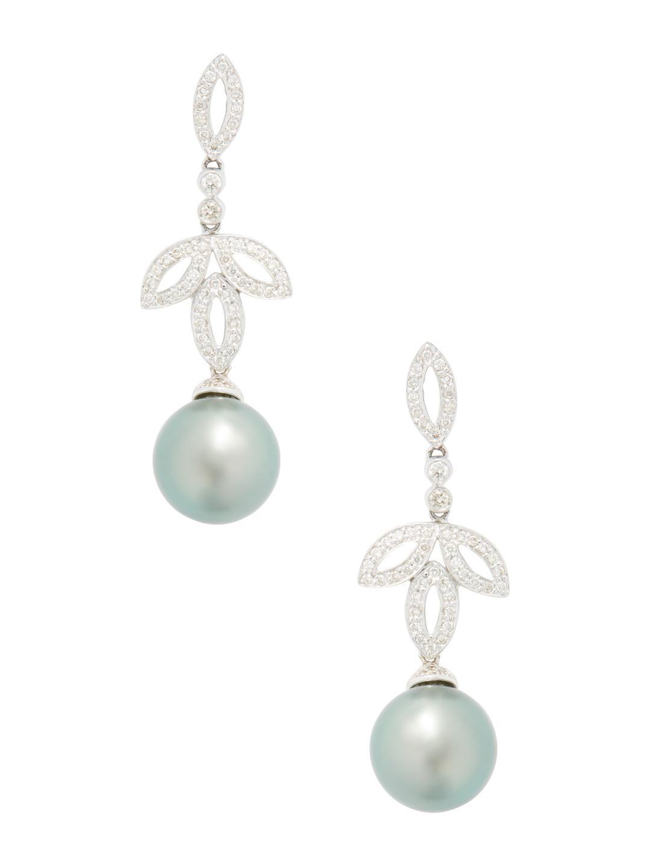 Belpearl Pavé Diamond & Tahitian Pearl Drop Earrings in 18K White Gold mgpxmOM