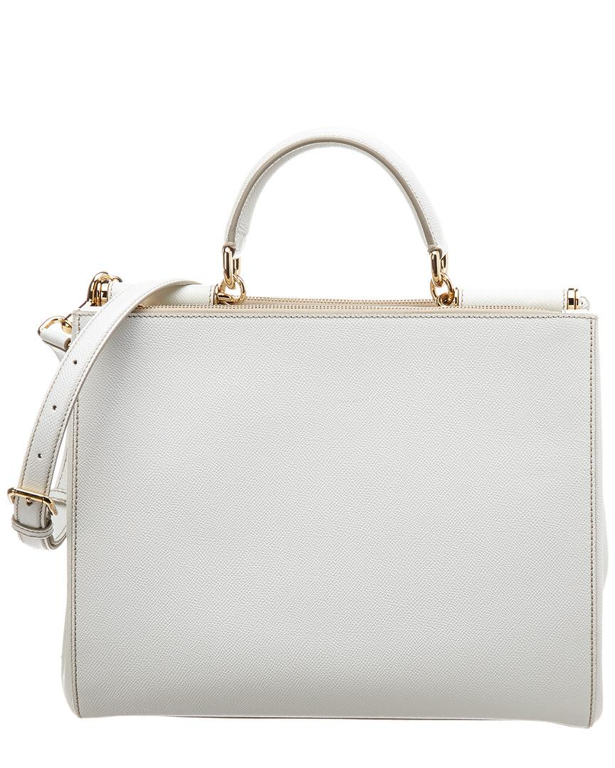 Lyst - Dolce   Gabbana Sicily Leather Tote in White 0d10f9ba29a40
