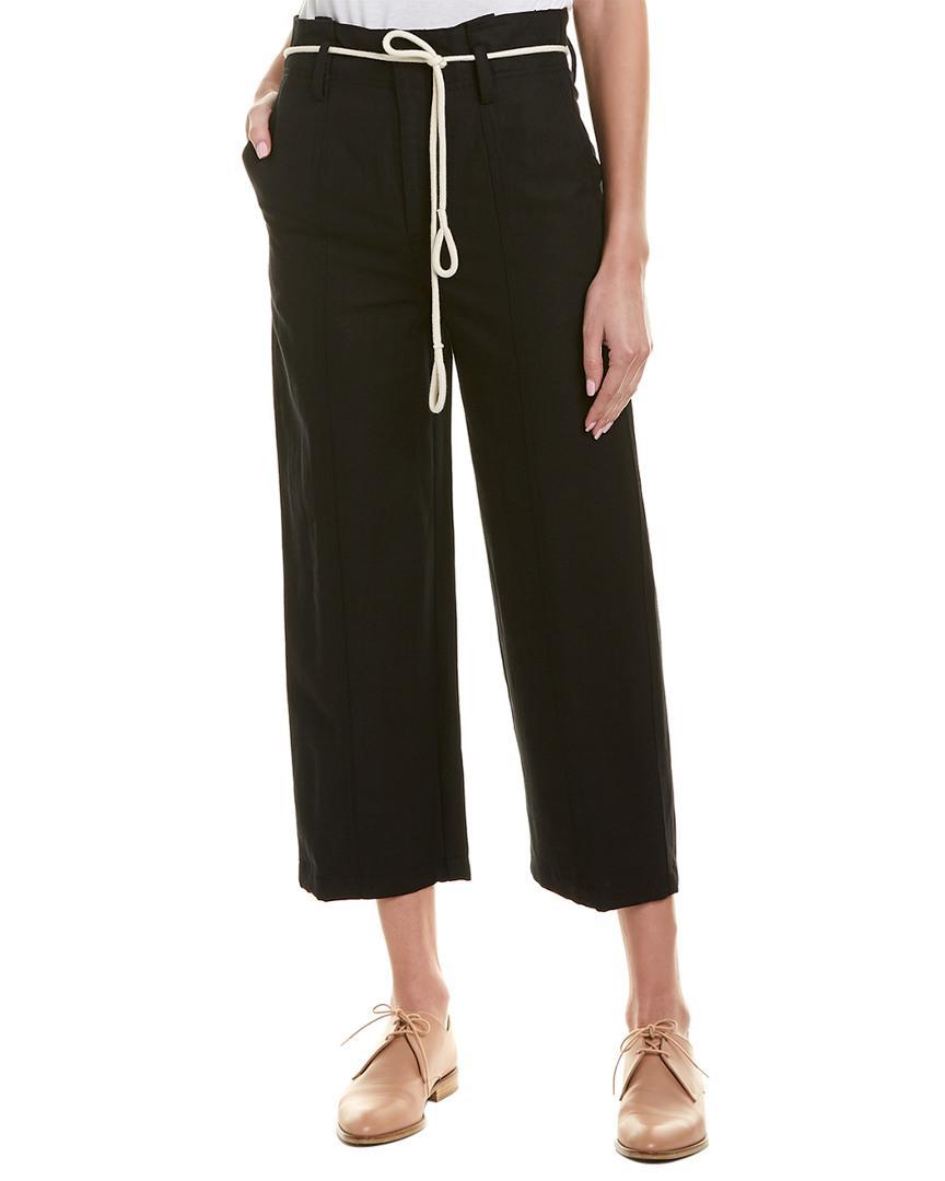 63417747e42 Lyst - Vince High-rise Linen-blend Crop Pant in Black - Save 39%