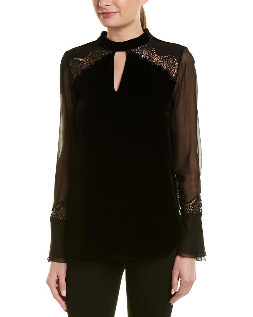 32838504977294 Lyst - Elie Tahari Silk Top in Black - Save 32%