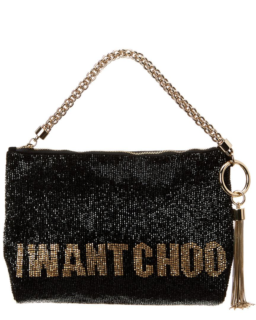 f94ba838b2 Jimmy Choo Callie I Want Choo Beaded Clutch in Black - Lyst