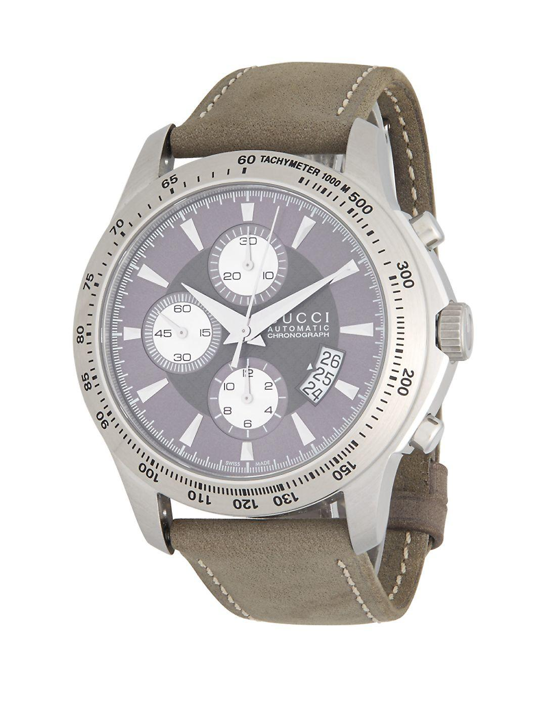 c9ffbe7e9cd Lyst - Gucci Stainless Steel And Leather Strap Automatic Chronograph ...