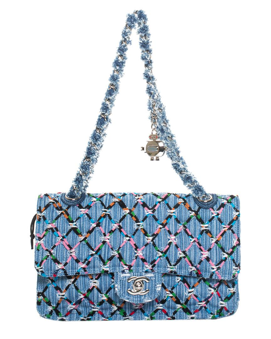 c2f6f91a06dd Chanel Blue Quilted Denim Fringe Chain Flap Bag in Blue - Lyst