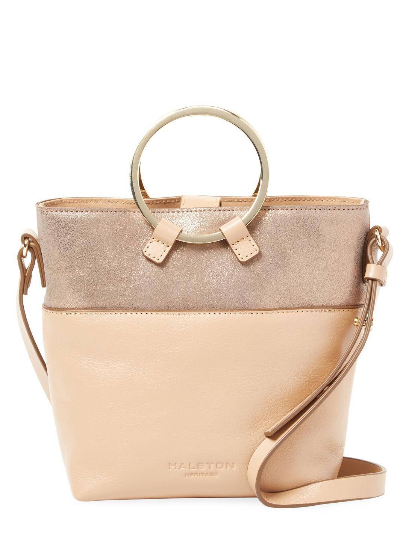 Halston Heritage Brown Suede & Metallic Gold Leather Handbag 4LHaIsypPO