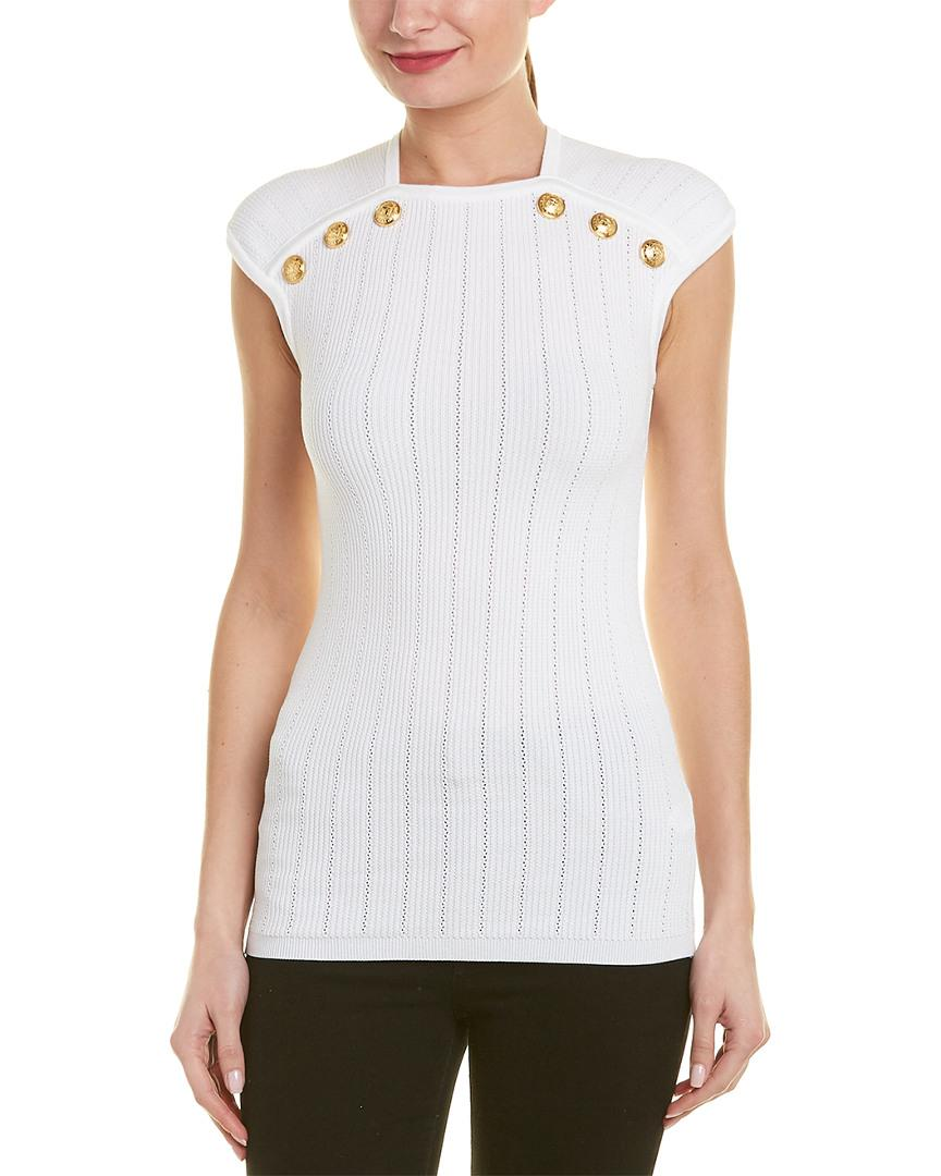 0333c594 Lyst - Balmain Button Embellished Top in White - Save 21%