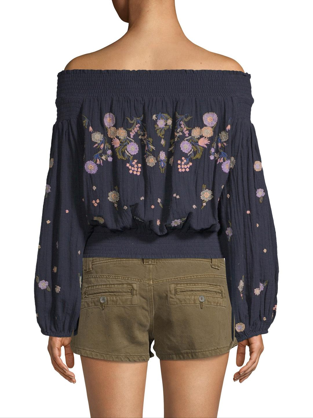 5cf0074a1dce8 Lyst - Free People Saachi Off-the-shoulder Smocked Top in Blue