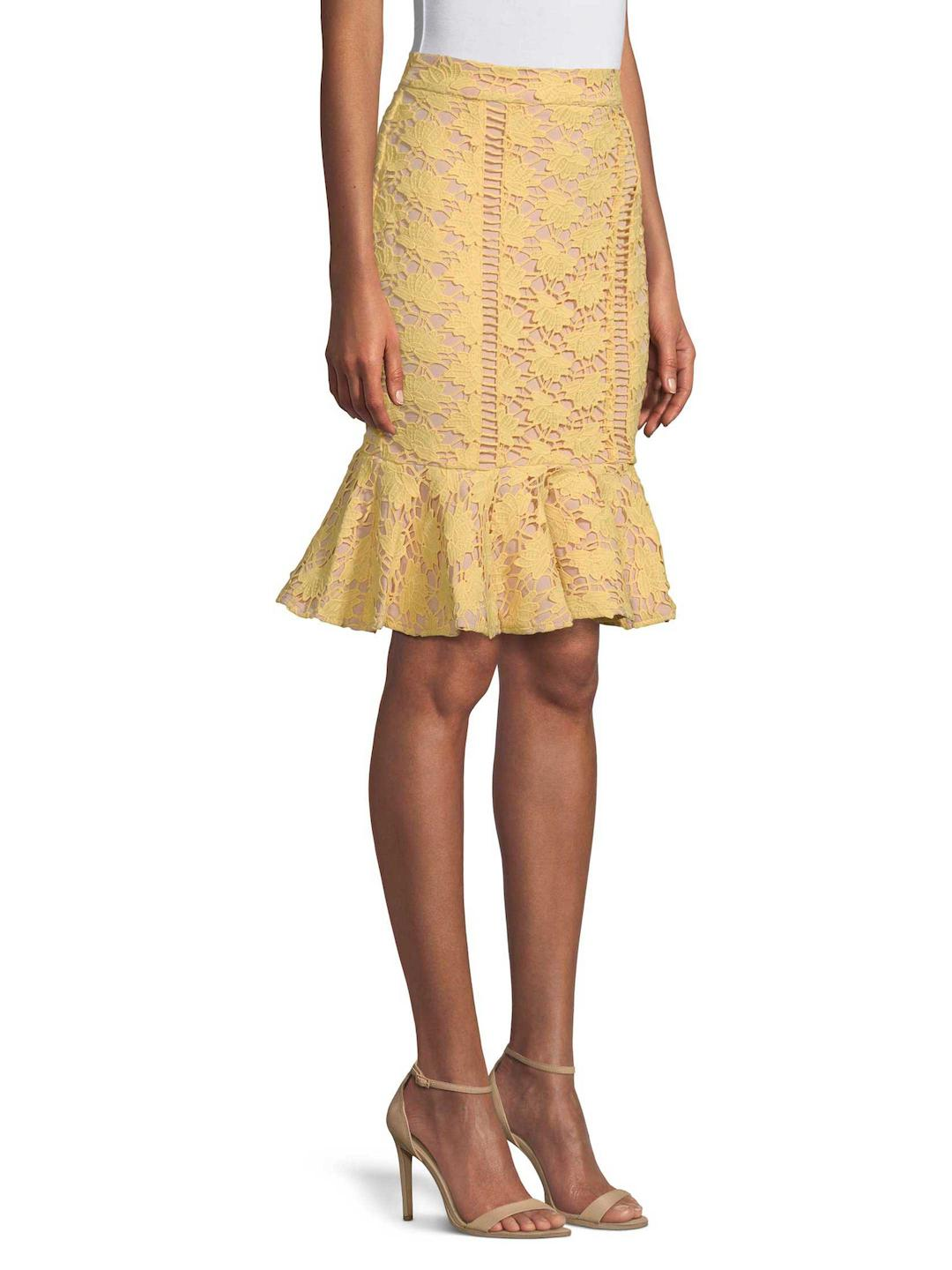 c65d5f851 Endless Rose Lace Trumpet Skirt in Yellow - Lyst