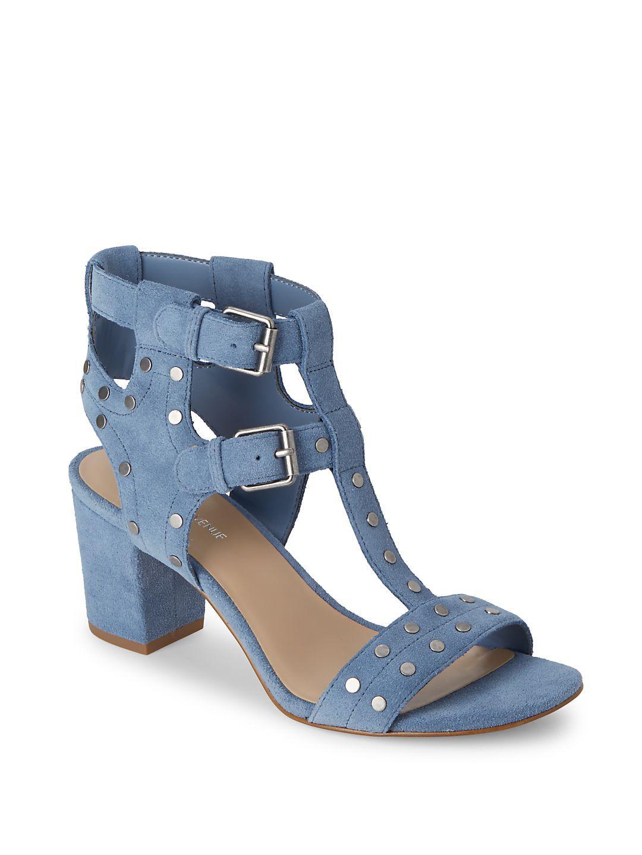 f5aa5ce52f2d Lyst - Saks Fifth Avenue Leena Block-heel Suede Sandals in Blue