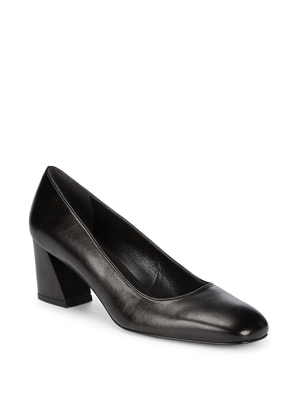 e6fe163c8a Lyst - Stuart Weitzman Marymid Leather Block-heel Pumps in Black