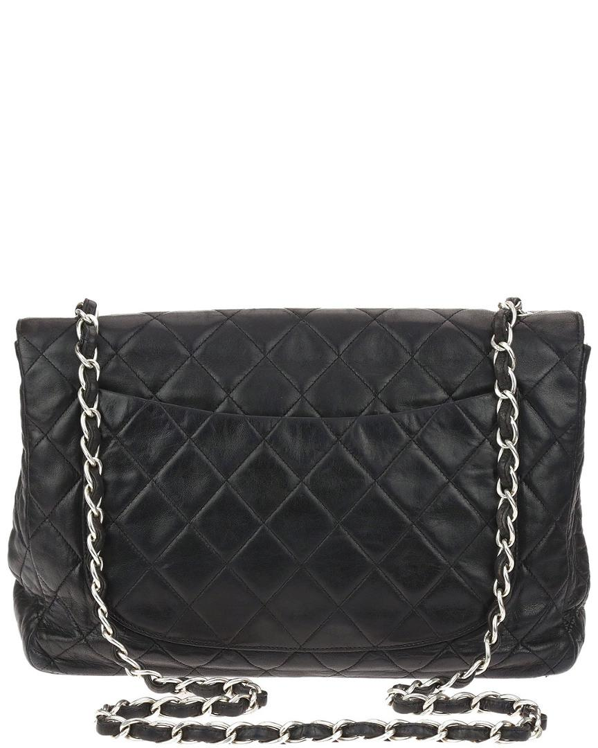 Lyst - Chanel Black Quilted Lambskin Leather Jumbo Single Flap Bag ... 854e6131cc5f4