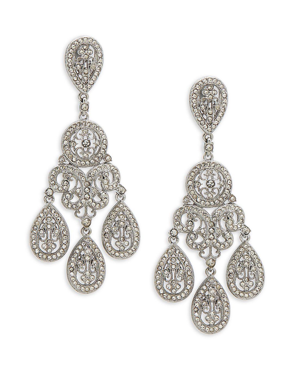 Adriana Orsini Women S Metallic Crystal Large Teardrop Chandelier Earrings