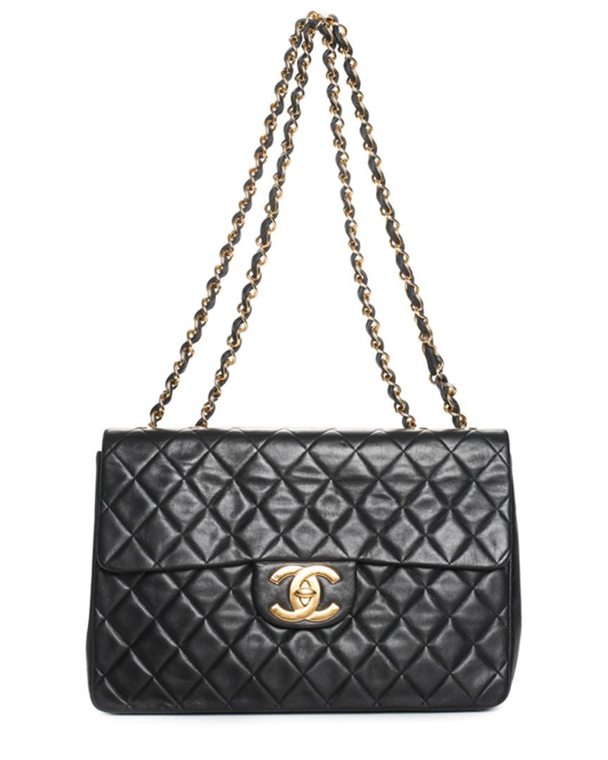 0f5f618050c Lyst - Chanel Black Quilted Lambskin Leather Maxi Half Flap Bag in Black