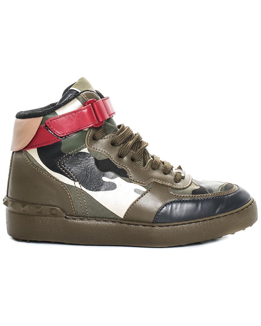 a7a87a5c407 Lyst - Valentino Garavani Camo Rockstud Leather High-top Sneaker (size  37.5