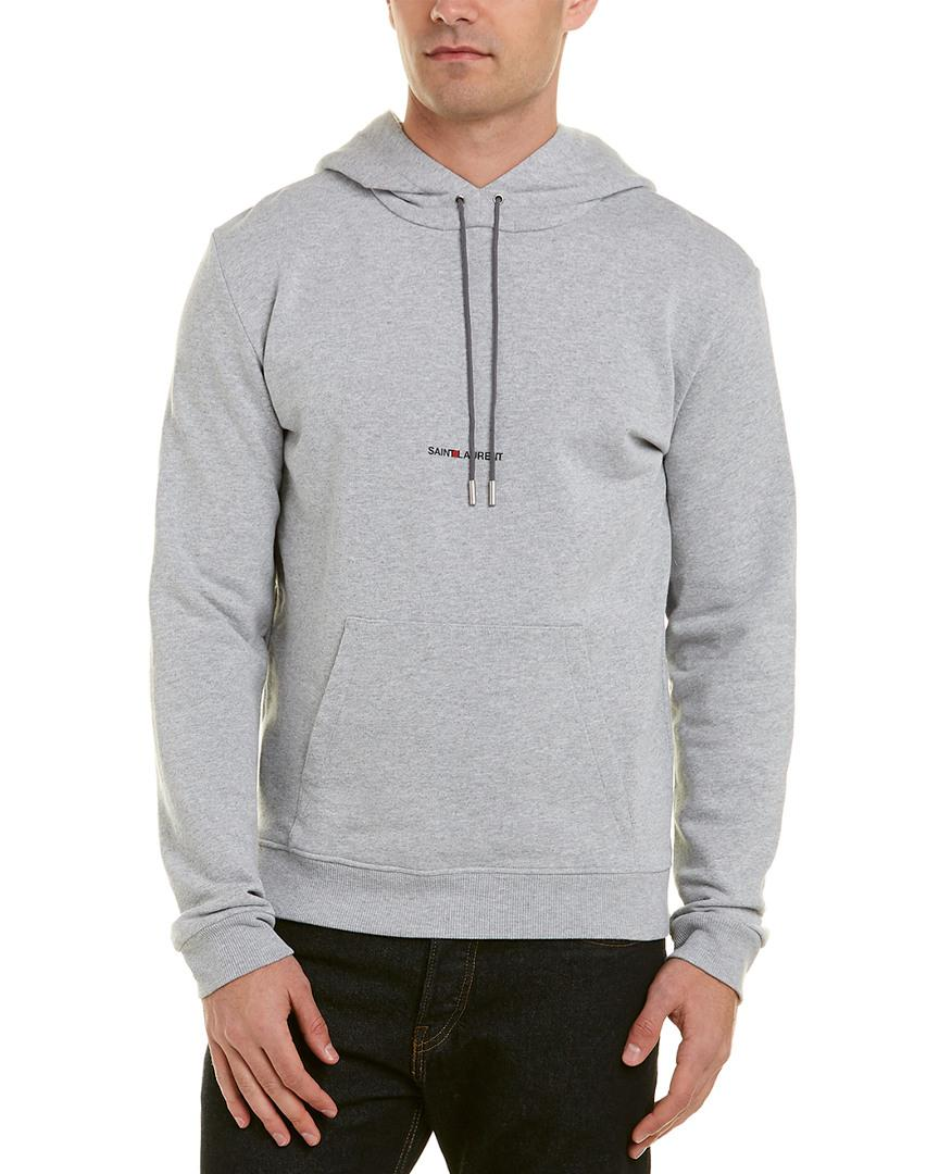 92897824e Saint Laurent Logo Hoodie in Gray for Men - Save 60% - Lyst
