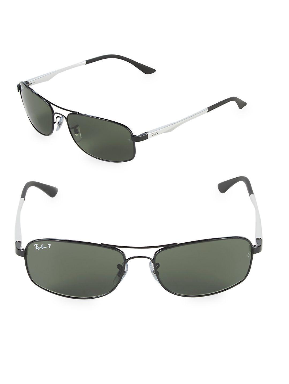 24b102c53f9 Lyst - Ray-Ban 60mm Rectangle Aviator Sunglasses in Black for Men