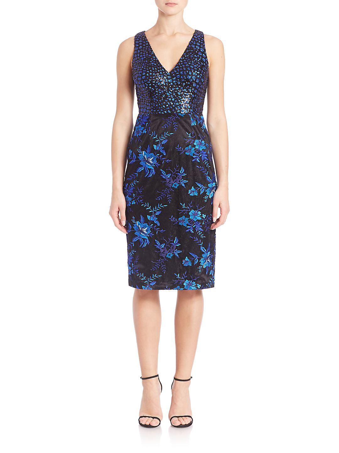 Lyst David Meister Floral Sleeveless V Neck Cocktail