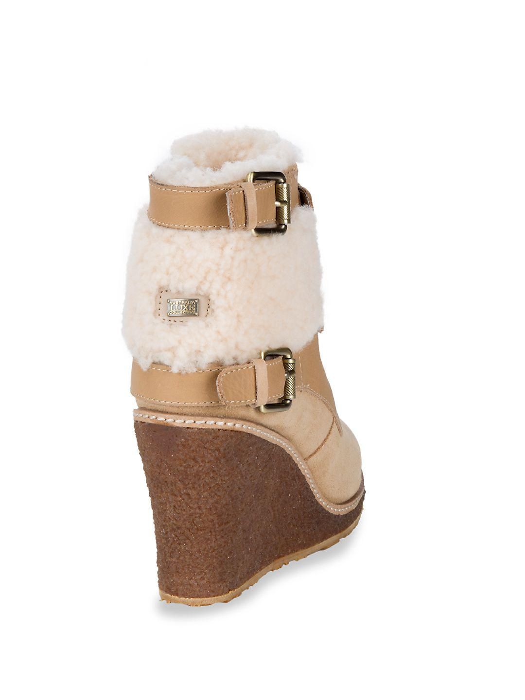 d415f3520d68 Lyst - Australian Luxe Collective Monk Strap Shearling Wedge Boots ...