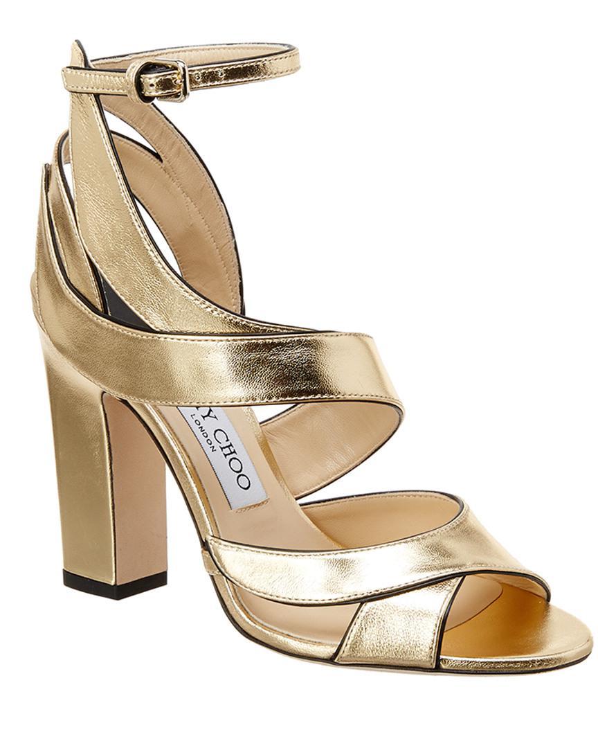 ec74582a0e4 Lyst - Jimmy Choo Falcon 100 Metallic Leather Sandal in Metallic ...