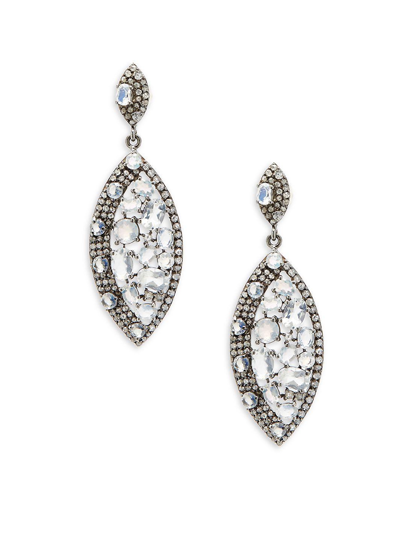 Bavna Round Moonstone & Diamond Open Drop Earrings 2FB6PL8f