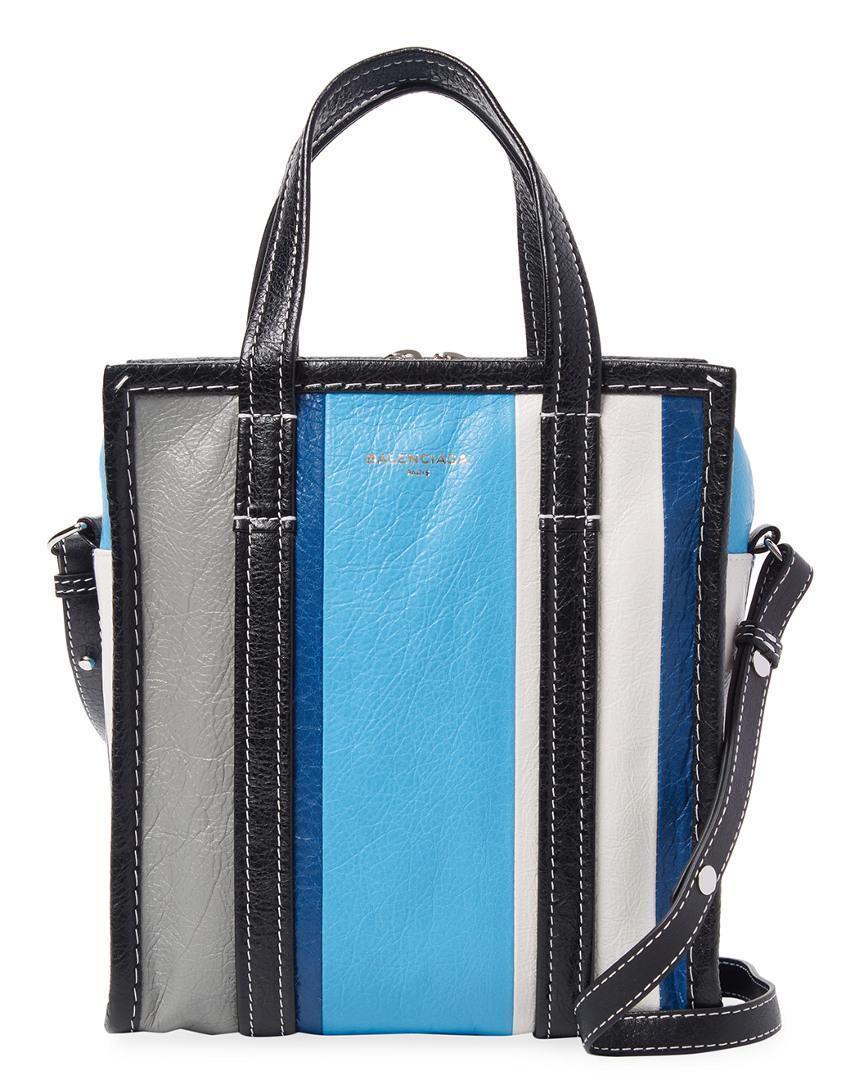63e3a0220402 Balenciaga Blue Stripe Bazar Shopper Xs Bag in Blue - Lyst