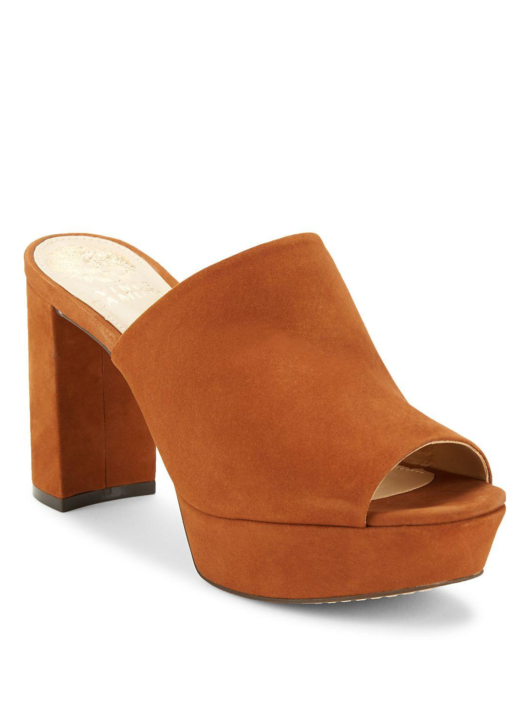 d9138388a90 Lyst - Vince Camuto Basilia Nubuck Leather Platform Mules in Brown
