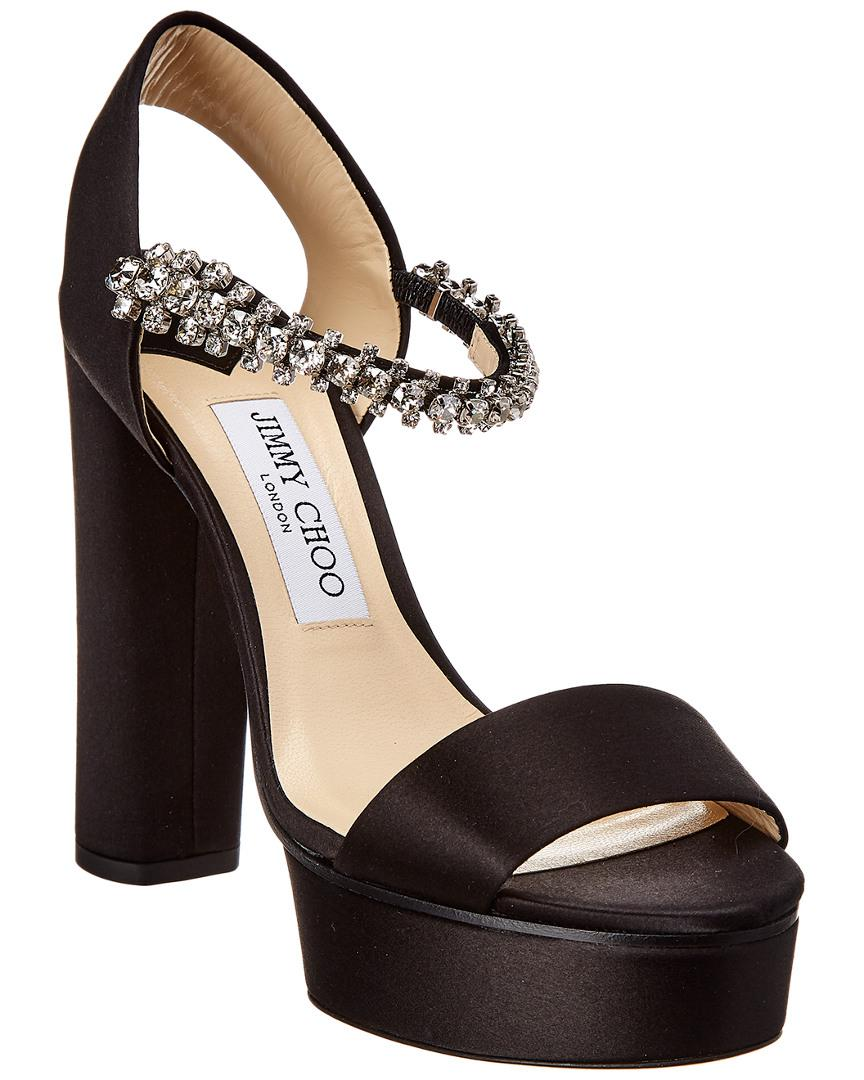 44496e8bac5604 Jimmy Choo - Black Santina 125 Satin Sandal - Lyst. View fullscreen