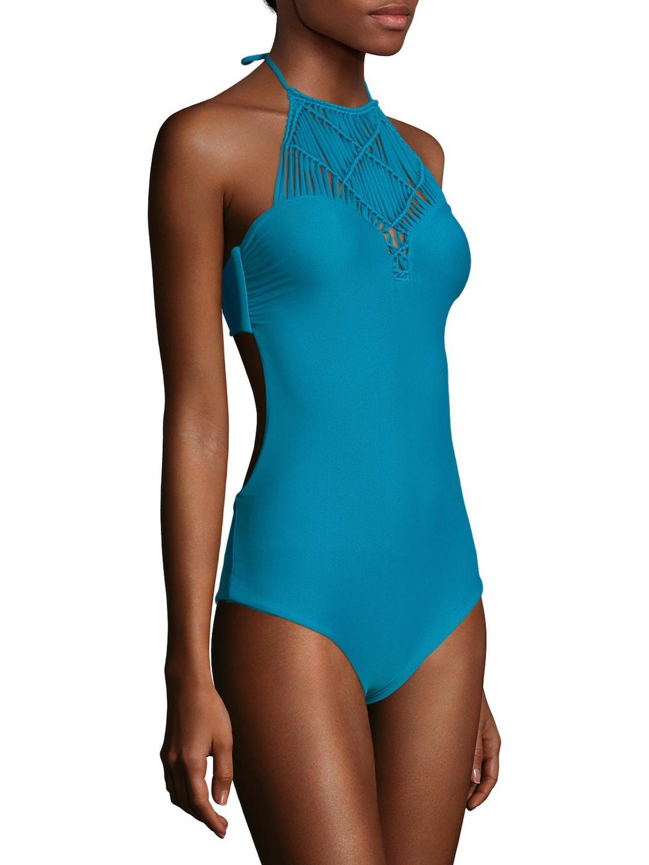 a721d4c076 Lyst - Mikoh Swimwear Moorea Woven Halter One Piece in Blue