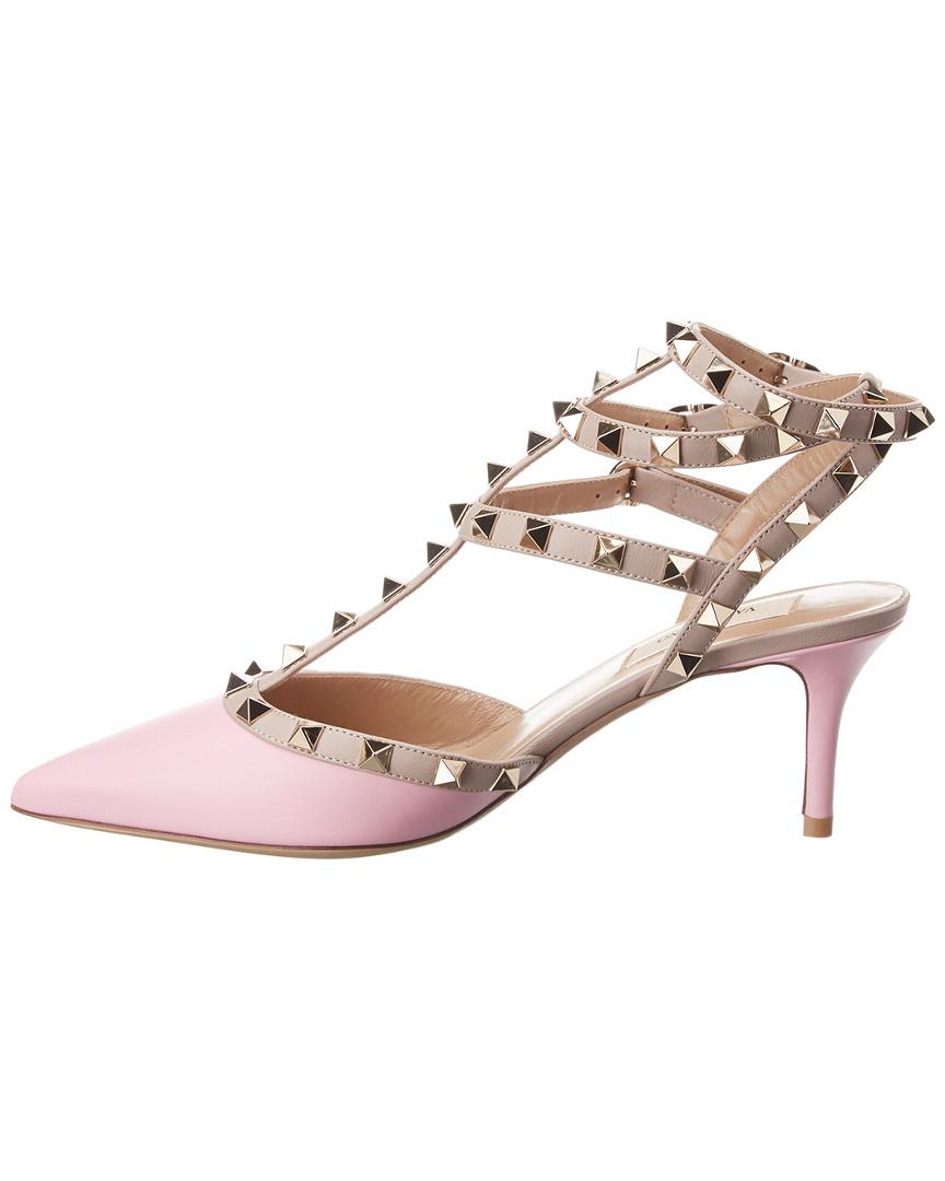 09f5b809a541 Valentino Cage Rockstud 65 Leather Ankle Strap Pump in Pink - Save 44% -  Lyst