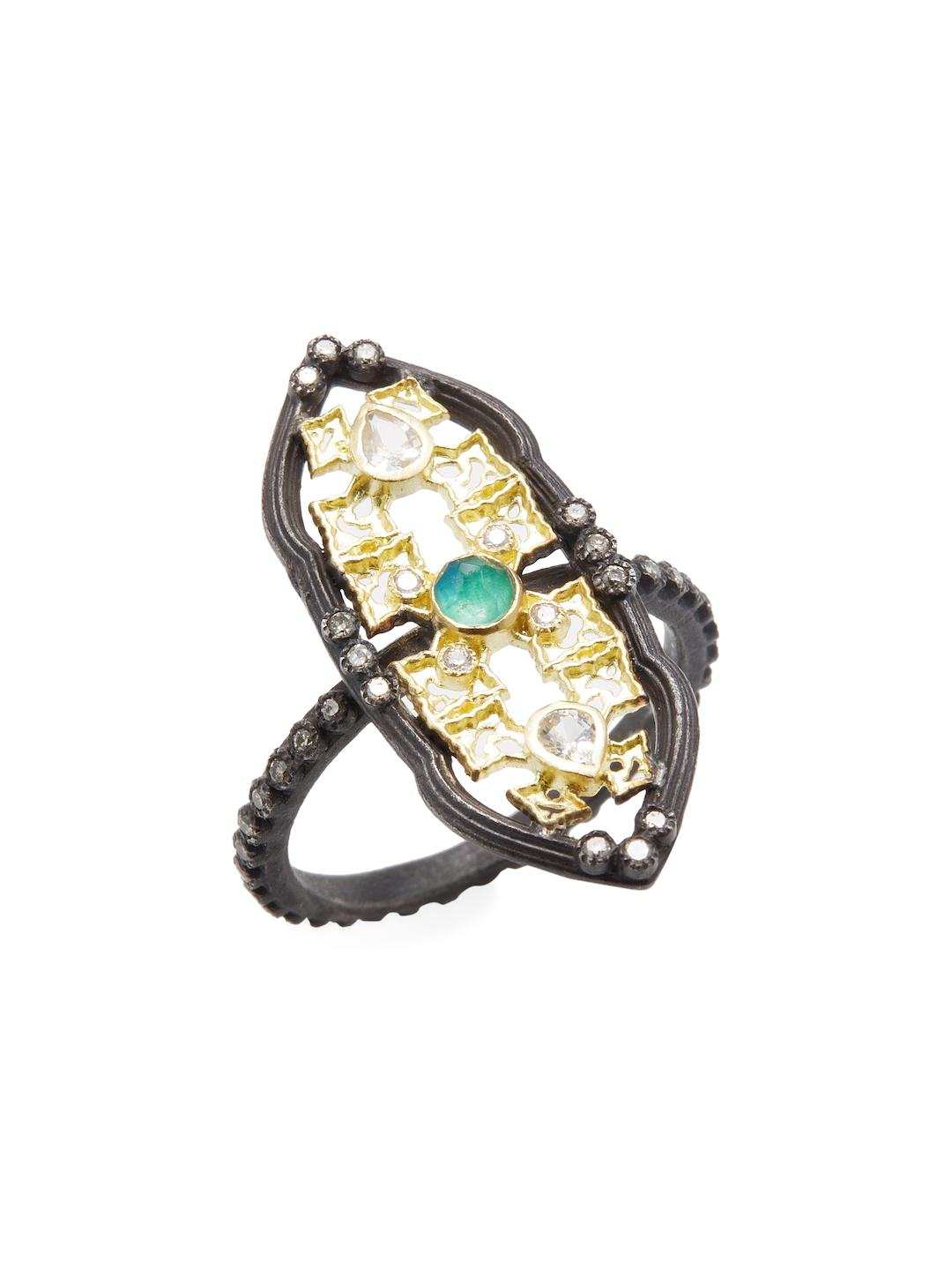 Armenta 18k Old World Aquaprase & Diamond Ring ry16U